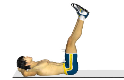腹肌训练动作分解:4下抬腿