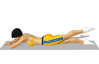 臀部训练动作分解:俯卧交替抬腿
