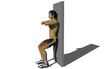 腿部训练动作分解:靠墙深蹲