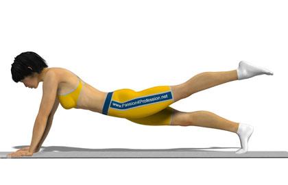 臀部训练动作分解:俯卧支撑抬腿