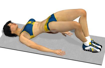 臀部训练动作分解:并脚拱桥