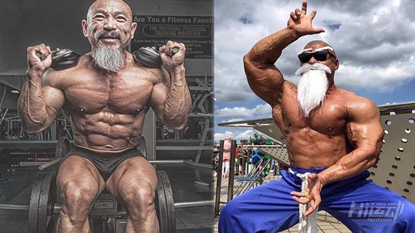 """50多岁老头迷恋""""七龙珠"""",疯狂健身练成真实版龟仙人 - 图片1"""
