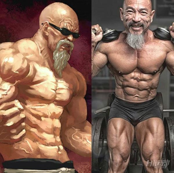 """50多岁老头迷恋""""七龙珠"""",疯狂健身练成真实版龟仙人 - 图片2"""