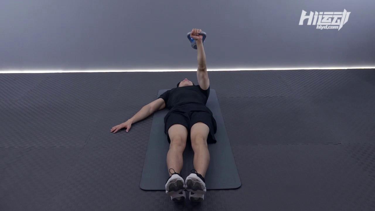 单臂壶铃地板卧推