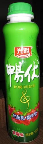 光明畅优草莓味580克装, 又叫光明畅优B+100活性益生菌 优酪乳