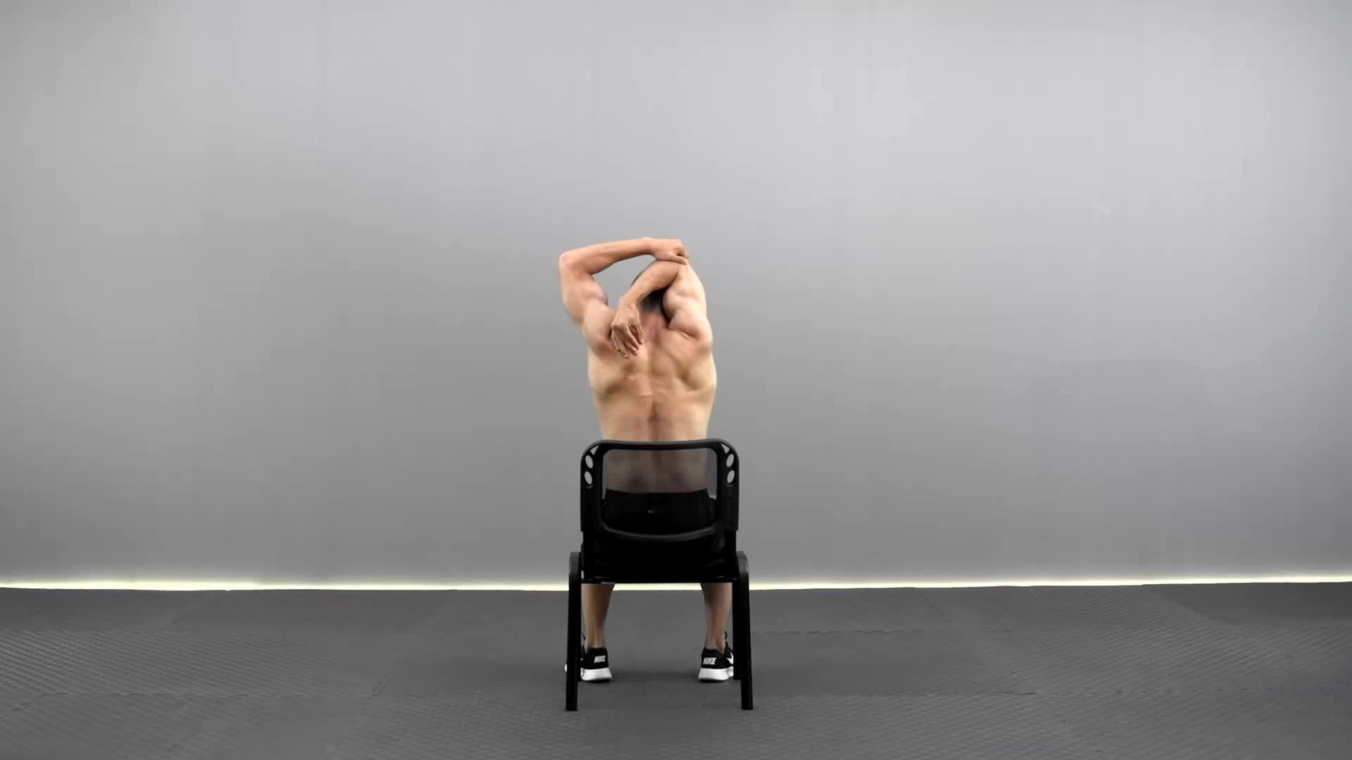 坐姿肱三头肌拉伸 R