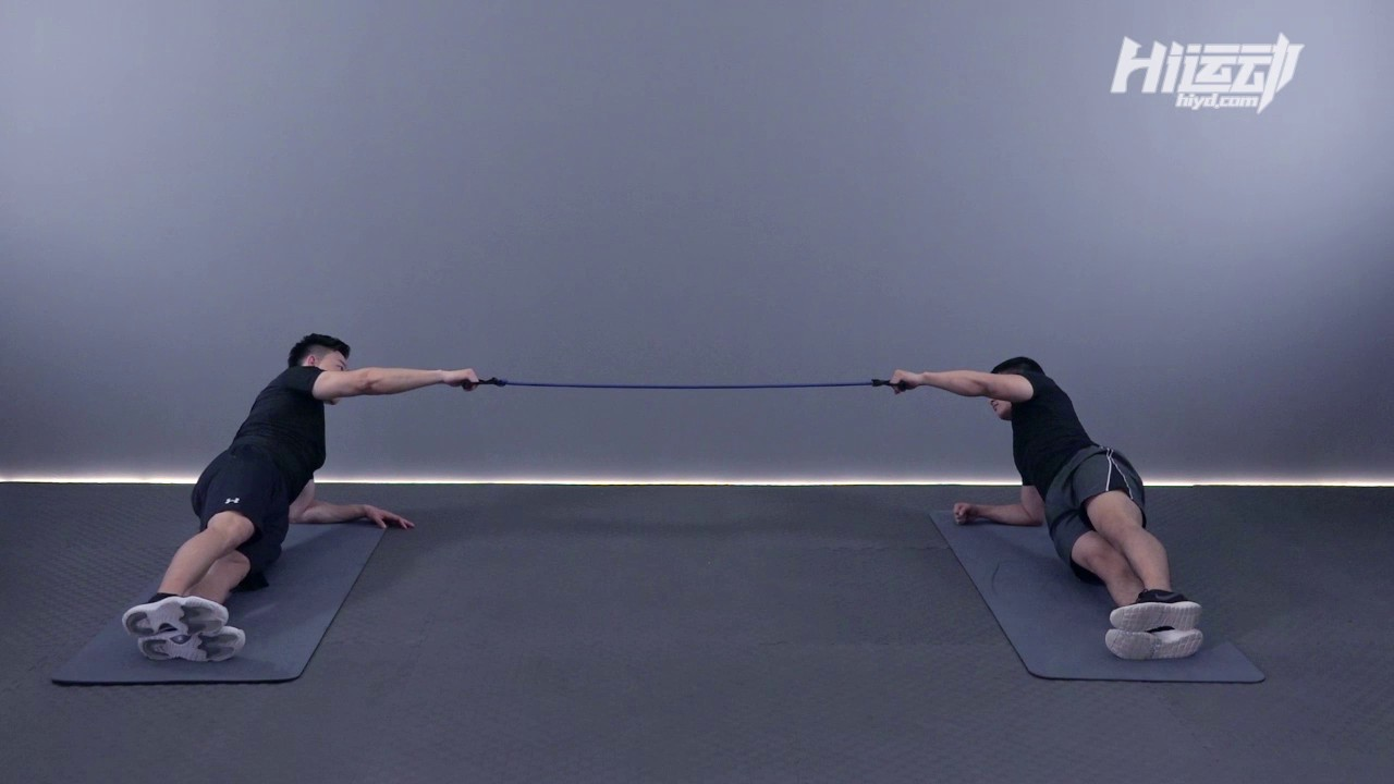 双人侧撑弹力绳划船